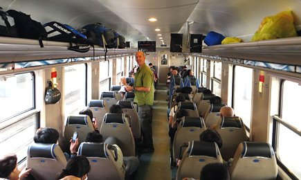 Air-conditioned soft seats on the train from Saigon to Phan Thiet