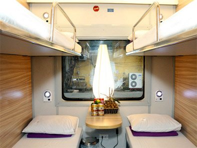 4-berth sleeper in the private Viollete sleeping-car from Hanoi to Hue & Danang