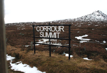 The West Highland Line's summit at Corrour, 1350 feet above sea level.