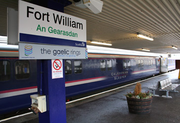 The Caledonian Sleeper arrives at Fort William.