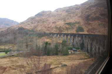 The famous Glenfinnan Viaduct, as featured in the Harry Potter films