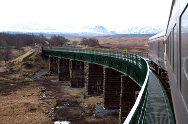 Up the West Highland Line by sleeper:  Just leaving Rannoch