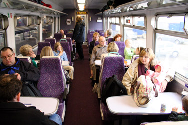 Interior of ScotRail sprinter train on the West Highland Line from Glasgow to Fort William & Mallaig