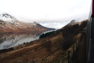 West Highland Line scenery:  A view of Loch Treig
