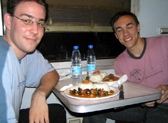 A meal on board the train from Dar es Salaam to Mbeya (copyright David Eerdmans)