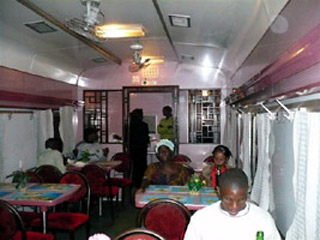 Restaurant car on the Tazara train from Tanzania to Zambia.