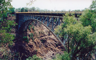 Zambezi Bridge linking Zambia with Zimbabwe near Victoria Falls