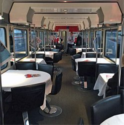 Restaurant car on a Zurich to Munich train