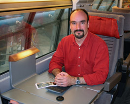 Mark Smith, the Man in Seat Sixty-One, on board Eurostar in Seat 61...