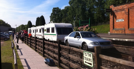 BBC Top Gear, July 2011.  The 'train' of caravans hauled by an Audi S8