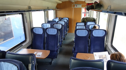 2nd class seats on a Berlin to Amsterdam train