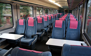 Unrefurbished 2nd class seats on a German InterCity train
