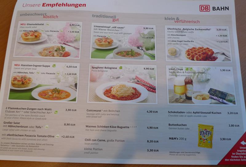 Eurostar Buffet Car Menu Prices