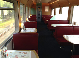 Restaurant car on an InterCity train