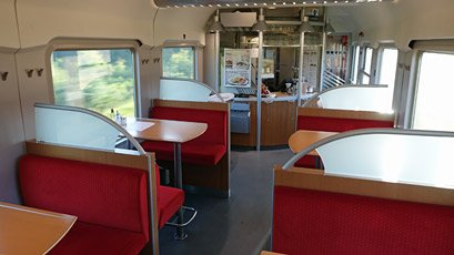 Inside the Amsterdam to Berlin bistro car