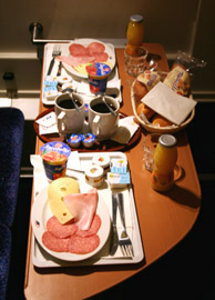 Complimentary breakfast in a deluxe sleeper on the Amsterdam-Prague train