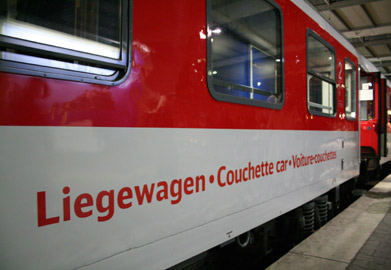 Couchette car as used on the train from Amsterdam to Prague