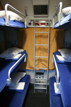 6-berth couchettes on the sleeper train to Prague