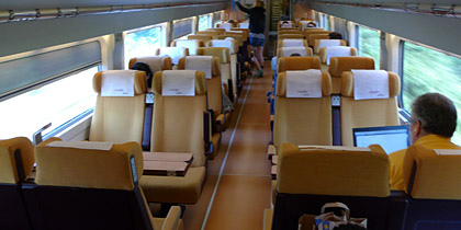 2nd class seats on the AVE from Barcelona to Lyon
