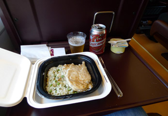 Food from the bar car