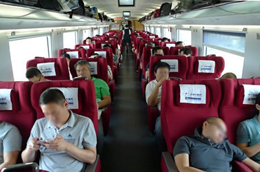 First class seats on a CRH380B Shanghai to Beijing train