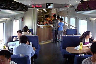 Buffet car on a Shanghai to Beijing CRH380B train
