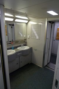Washroom at the end of the car
