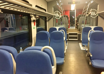 Seating on the Serbian electric train, Belgrade-Nis