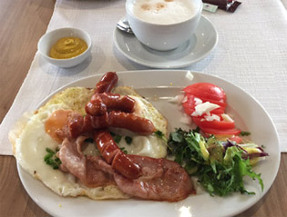 Breakfast in a Polish restaurant car
