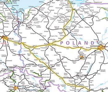 Berlin to Warsaw train route map