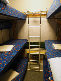 6-bunk couchettes on Czech night train