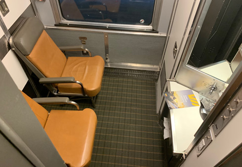 A bedroom in day mode on the Toronto to Vancouver train
