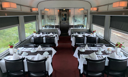 Dining car on the 'Canadian' train from Toronto to Vancouver