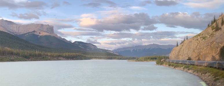More scenery as the train runs along the Athabasca River