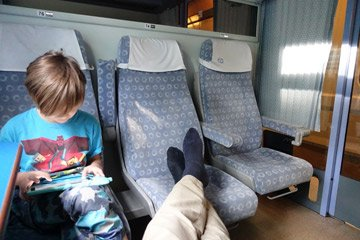 Feet up in 1st class on the train back to Prague