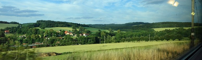 Scenery seen travelling from Prague to Salzburg by train