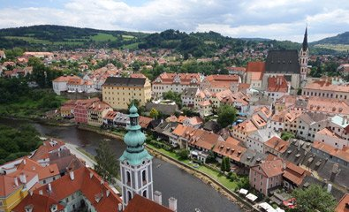 View over Cesky Krumlov from tower