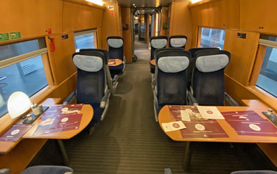 "Restaurant car on the Frankfurt-Brussels ICE3M train"" width=""397"" height=""250"