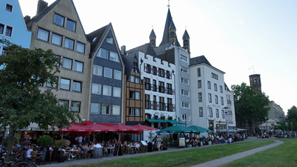 Restaurants & beer houses in Cologne, down by the Rhine.