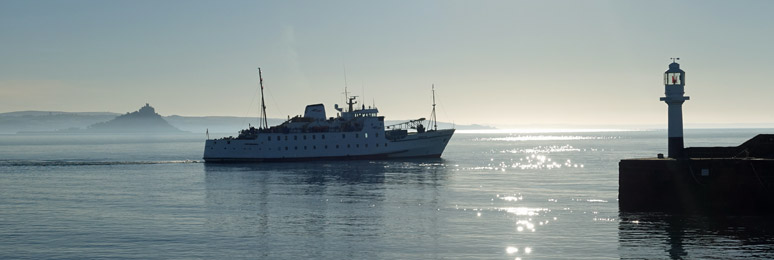 The Scillonian II sails from Penzance to the Scilly Isles on fine September morning