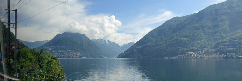 Lake Lugano, seen from a Milan to Zurich train