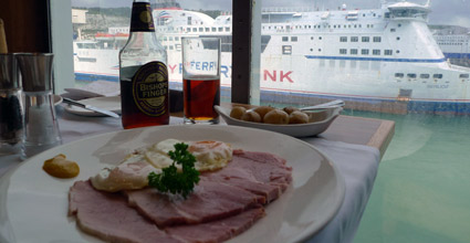 A meal on board P&O's Pride of Kent as it leaves Dover
