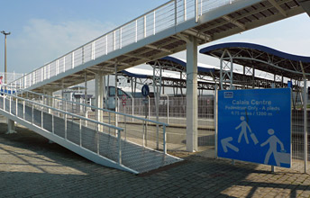 The walkway from the ferry terminal towards Calais town centre