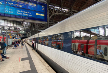 A Danish IC3 train at Copenhagen station...