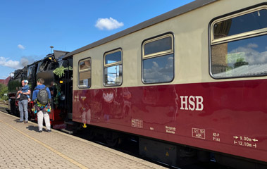 Harz Railway train about to leave Nordhausen