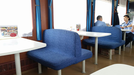 Restaurant car of Beijing-Hong Kong train