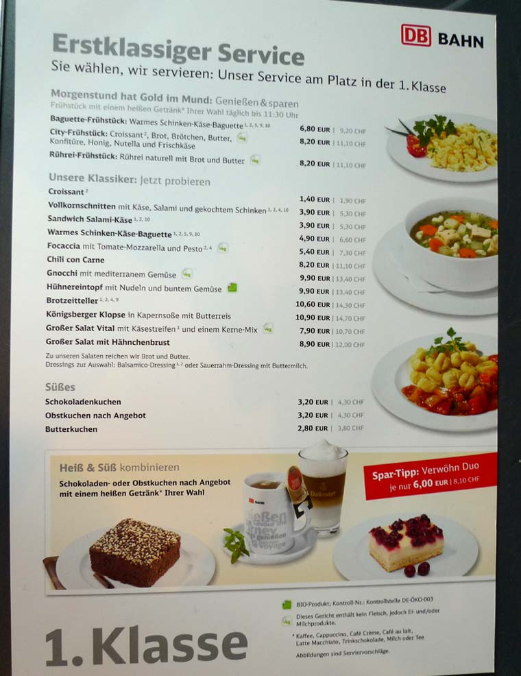 ICE train bistro menu