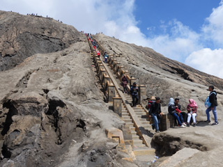 250 steps to the rim of Mt Bromo