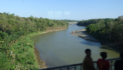 Crossing a river on the train