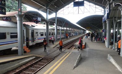 Train arrives at Surabaya